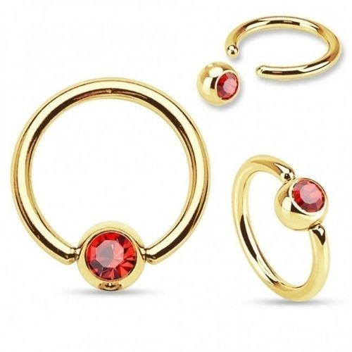 Gold Plated Ball Closure Ring with Red Gem Ball
